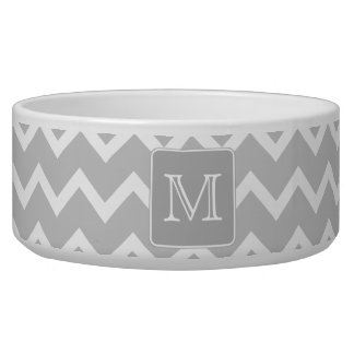 Gray and White Zigzags with Custom Monogram. Dog Bowl