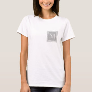 Gray and White Zigzags with Custom Monogram. T-Shirt
