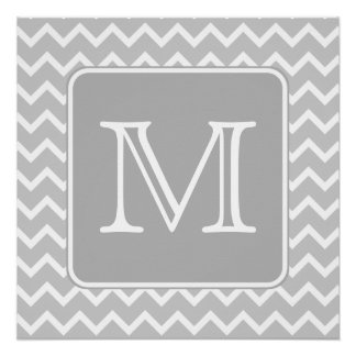 Gray and White Zigzags with Custom Monogram. Perfect Poster