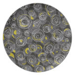 Gray and yellow abstract art dinner plate