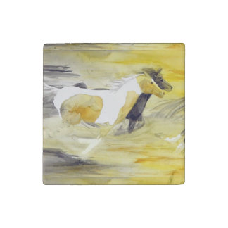 Gray and Yellow Abstract Horse Artwork Stone Magnet