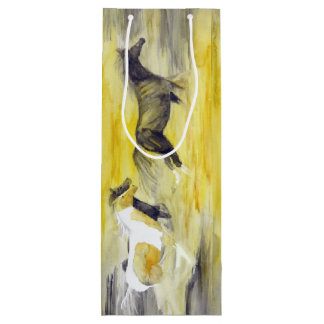Gray and Yellow Abstract Horse Artwork Wine Gift Bag