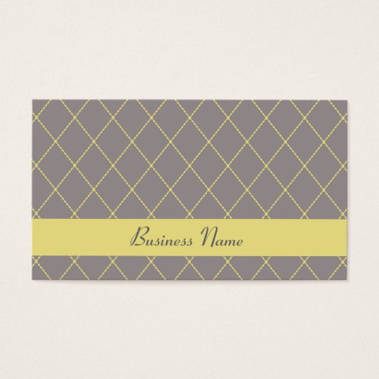 Gray and Yellow Argyle Business Cards