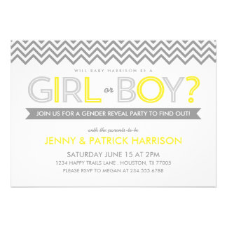Gray and Yellow Chevron Baby Gender Reveal Party Personalized Announcement