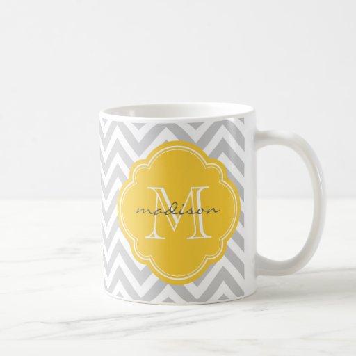 Gray and Yellow Chevron Custom Monogram Classic White Coffee Mug