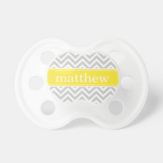 Gray and Yellow Chevron Monogram Pacifier