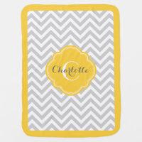 Gray and Yellow Chevron Monogram Receiving Blanket