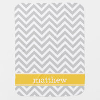 Gray and Yellow Chevron Monogram Receiving Blanket