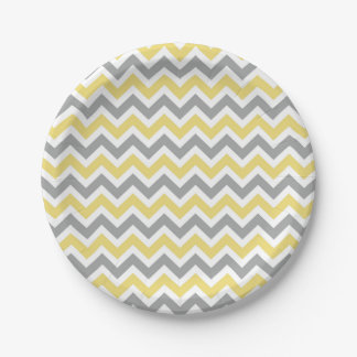 Gray and Yellow Chevron Plates 7 Inch Paper Plate