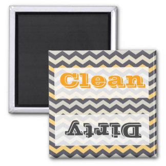 Gray and Yellow Chevron Stripe Zig Zag Kitchen Set 2 Inch Square Magnet
