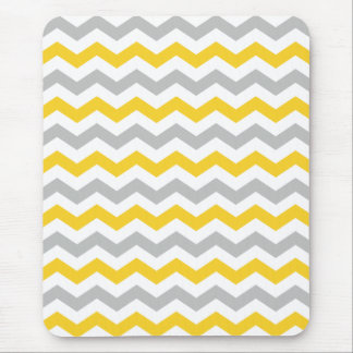 Gray and Yellow Chevron Stripes Mouse Pad