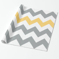 Gray and Yellow Chevron Wrapping Paper