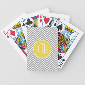 Gray and Yellow Chevrons Custom Monogram Bicycle Playing Cards