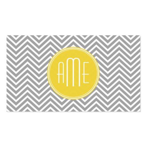 Gray and Yellow Chevrons Custom Monogram Business Card Template