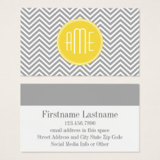 Gray And Yellow Chevrons Custom Monogram Business Card at Zazzle