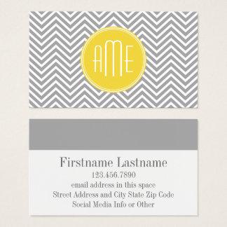 Gray and Yellow Chevrons Custom Monogram Business Card