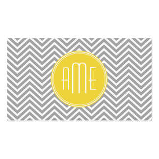 Gray and Yellow Chevrons Custom Monogram Double-Sided Standard Business Cards (Pack Of 100)