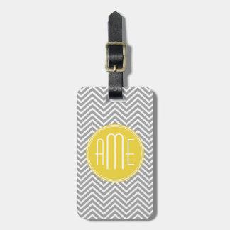 Gray and Yellow Chevrons Custom Monogram Travel Bag Tag