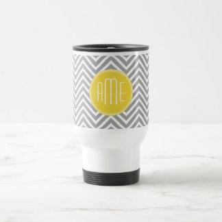 Gray and Yellow Chevrons Custom Monogram 15 Oz Stainless Steel Travel Mug