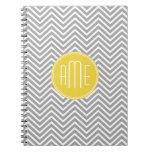 Gray and Yellow Chevrons Custom Monogram Spiral Notebooks