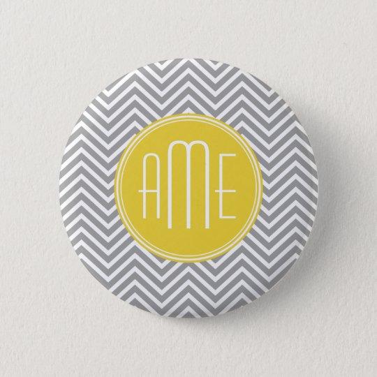 Gray and Yellow Chevrons Custom Monogram Pinback Button