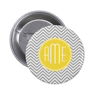 Gray and Yellow Chevrons Custom Monogram Pinback Button