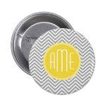 Gray and Yellow Chevrons Custom Monogram Pins