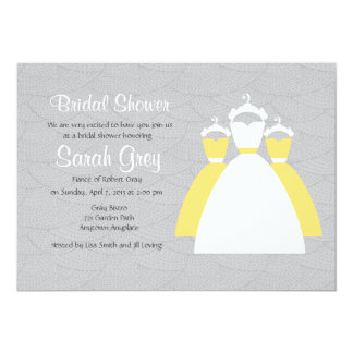 "Gray And Yellow Custom Bridal Shower Invites 5"" X 7"" Invitation Card"