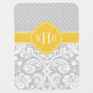 Gray and Yellow Damask Polka Dots Monogram Baby Blanket