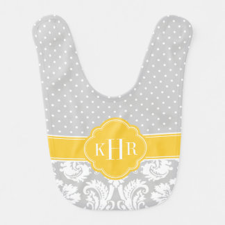 Gray and Yellow Damask Polka Dots Monogram Bib
