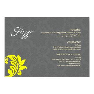 Gray and Yellow Damask Wedding Enclosure Card