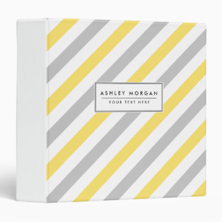 Gray and Yellow Diagonal Stripes Pattern Binder