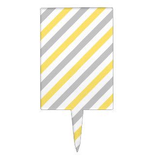 Gray and Yellow Diagonal Stripes Pattern Cake Topper