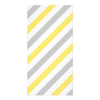 Gray and Yellow Diagonal Stripes Pattern Card