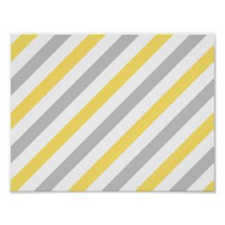 Gray and Yellow Diagonal Stripes Pattern Poster