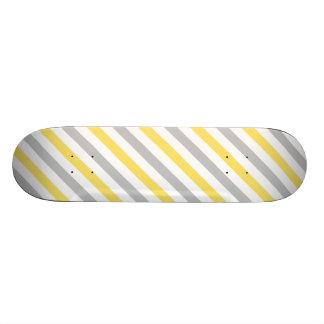 Gray and Yellow Diagonal Stripes Pattern Skateboard Deck