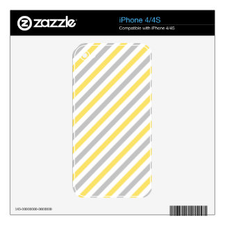 Gray and Yellow Diagonal Stripes Pattern Skin For iPhone 4S