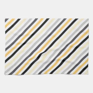 Gray and Yellow Diagonal Stripes Towel
