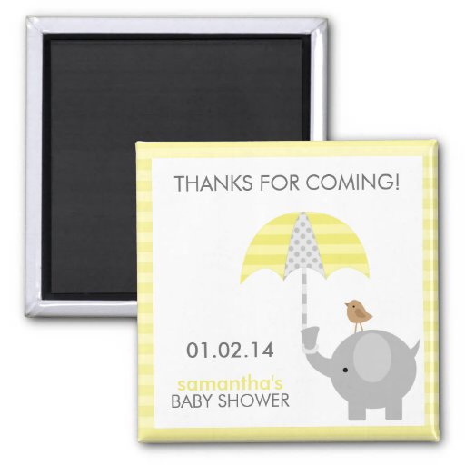 Gray and Yellow Elephant Baby Shower Favors Refrigerator Magnet