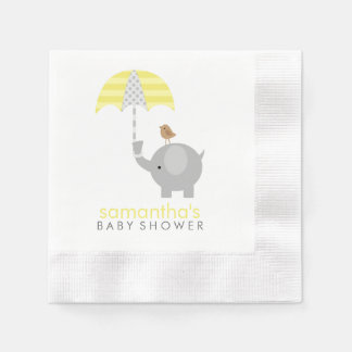 Gray and Yellow Elephant Baby Shower Paper Napkins