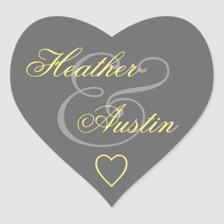 Gray and Yellow Envelope Seal Wedding Heart V14A Heart Sticker