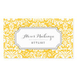 Gray and Yellow Floral Damask Business Cards
