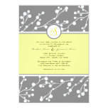 Gray and Yellow Floral Monogram Wedding Invitation