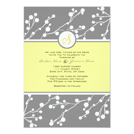 Gray and Yellow Floral Monogram Wedding Invitation