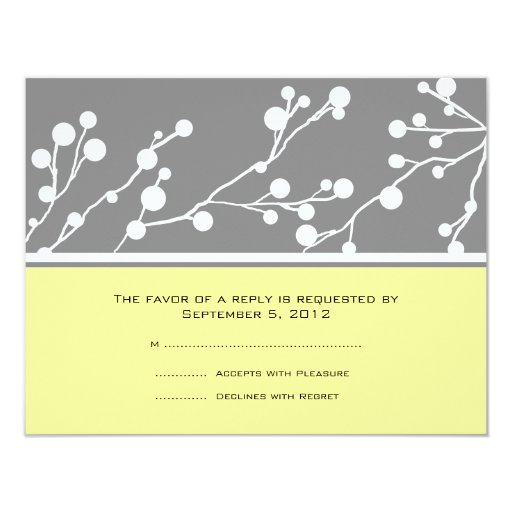 Gray and Yellow Floral Monogram Wedding RSVP Custom Invitation