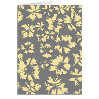 Gray and yellow floral pattern. greeting card