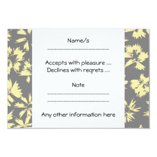 Gray and yellow floral pattern. 3.5x5 paper invitation card