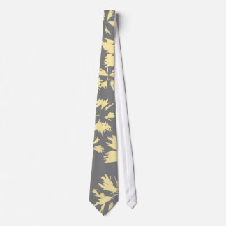 Gray and yellow floral pattern. neck tie