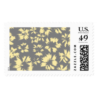 Gray and yellow floral pattern. postage