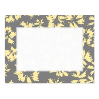 Gray and yellow floral pattern. postcard